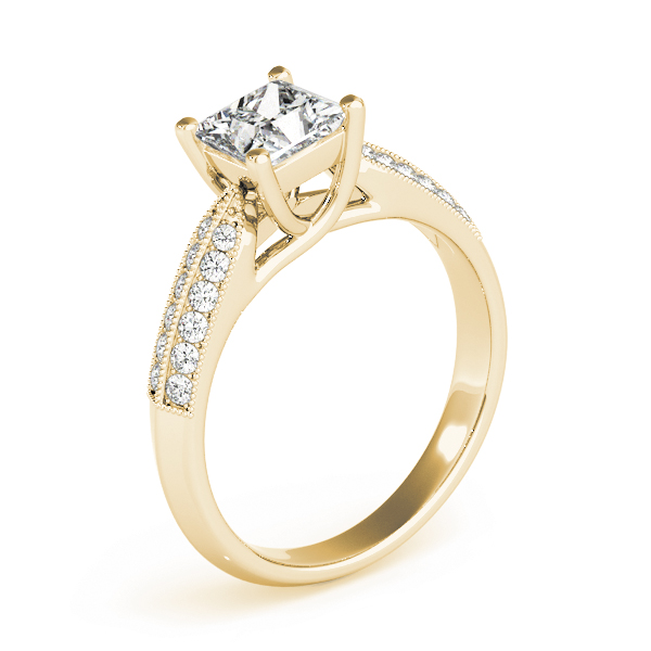 Princess Trellis Knife-Edge Pave Diamond Engagement Ring in Yellow Gold