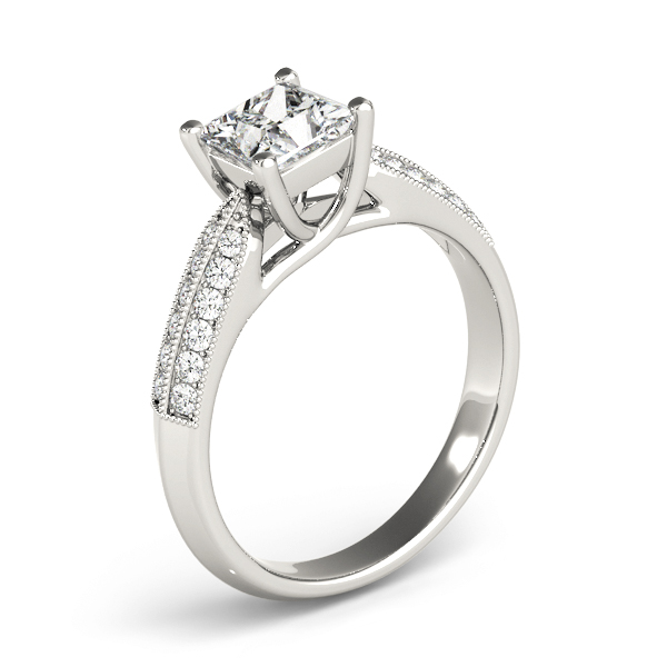 Princess Trellis Knife-Edge Pave Diamond Engagement Ring