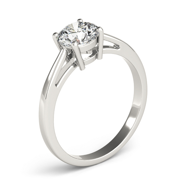 Solitaire Tapered Band Engagement Ring in Platinum
