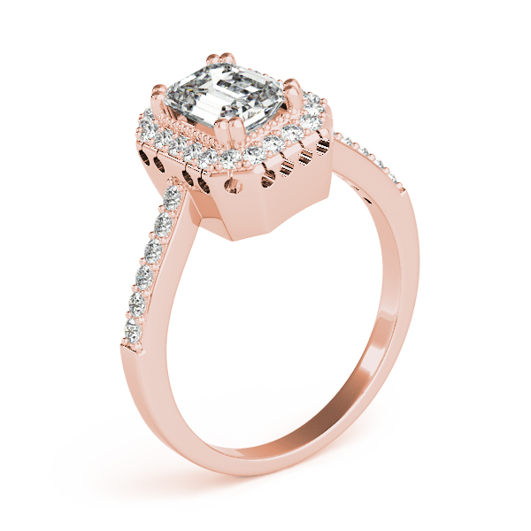Vintage Halo Emerald Diamond Ring Rose Gold
