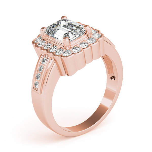 Emerald Halo Engagement Ring Rose Gold