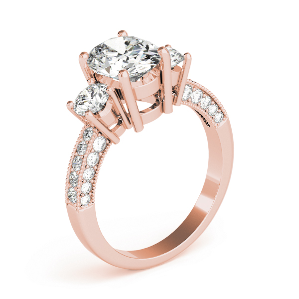 Three Stone Oval - Round Vintage Engagement Ring in Rose Gold
