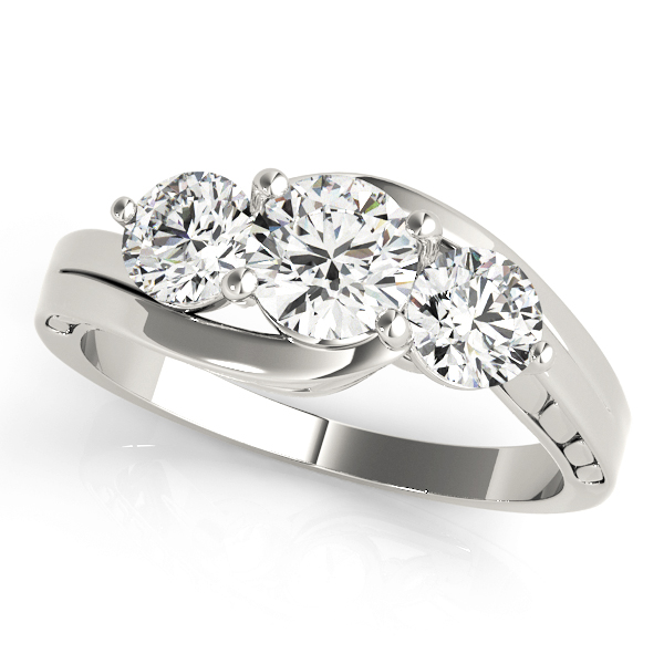 Three Stone Swirl Diamond Anniverary Ring with Engraved Band