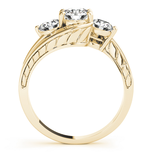 Three Stone Swirl Diamond Anniverary Ring with Engraved Band in Yellow Gold