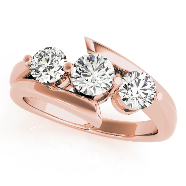 Swirl Three Stone Diamond Anniversary Ring in Rose Gold