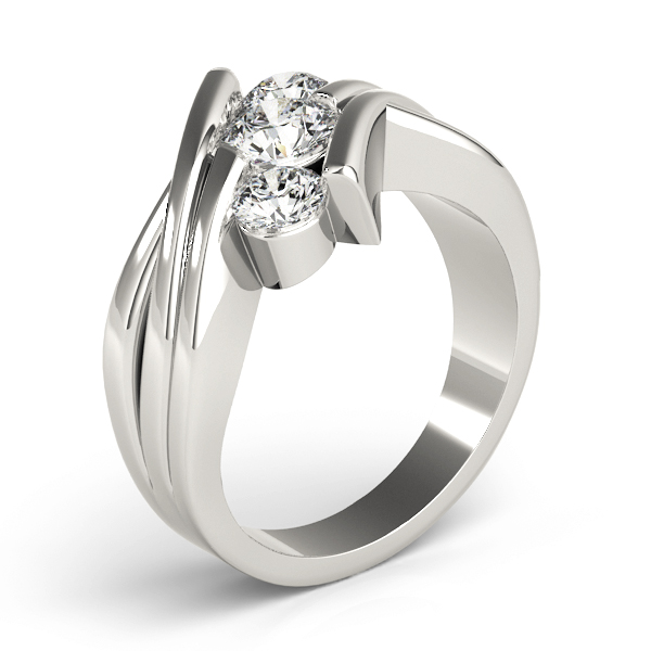 Swirl Three Stone Diagonally Set Diamond Anniversary Ring