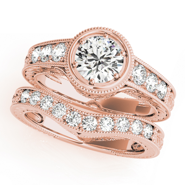 Vintage Bezel Diamond Bridal Set, Engraved Band in Rose Gold