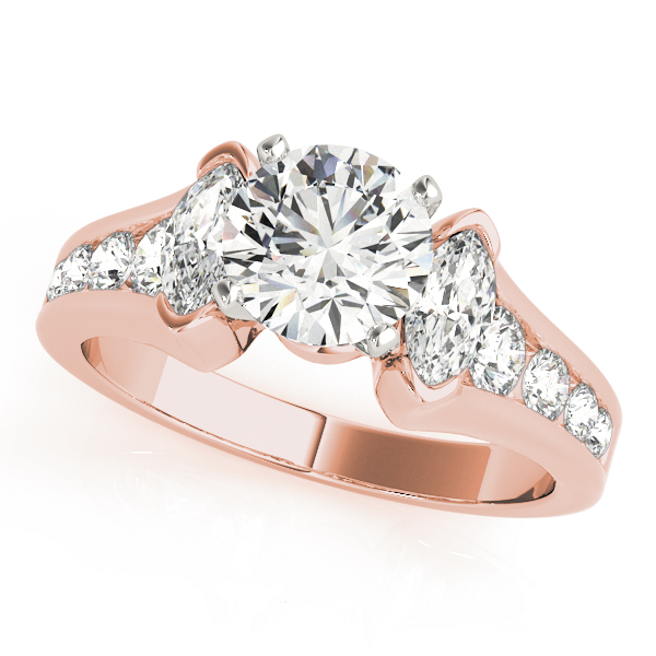 Three Stone Marquise & Round Diamond Journey Engagement Ring in Rose Gold