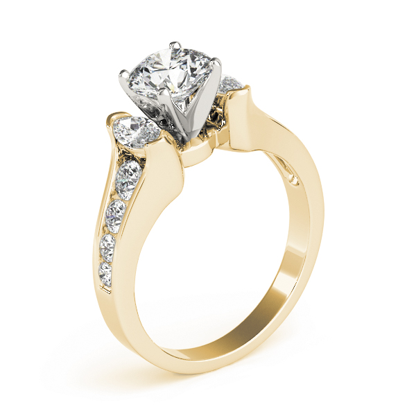 Three Stone Marquise & Round Diamond Journey Engagement Ring in Yellow Gold