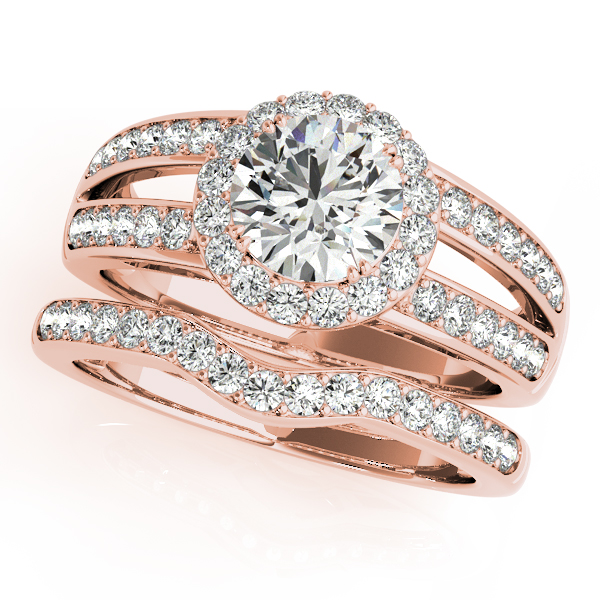 Halo Split Band Diamond Engagement Ring & Wedding Band Rose Gold
