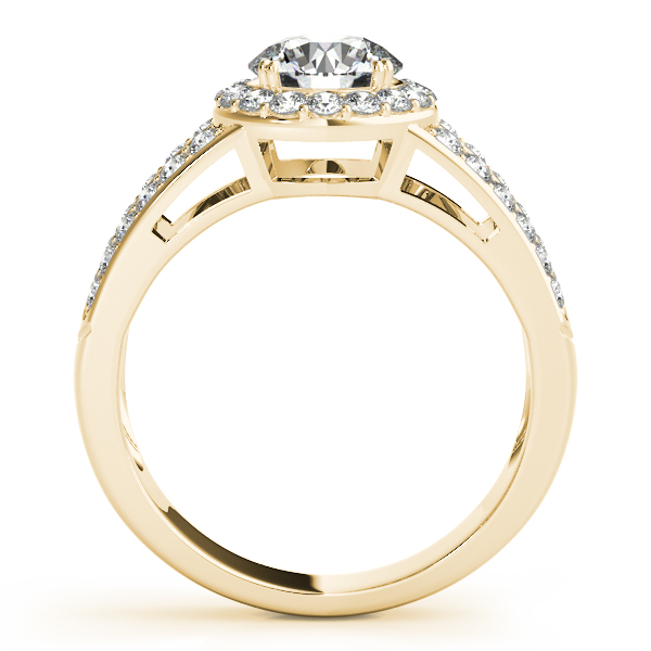 Halo Split Band Diamond Engagement Ring & Wedding Band in Yellow Gold