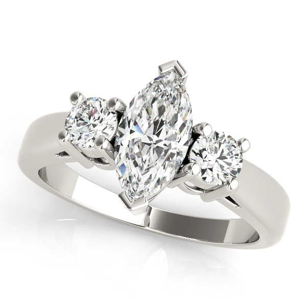 3 Stone Marquise Diamond Engagement Ring