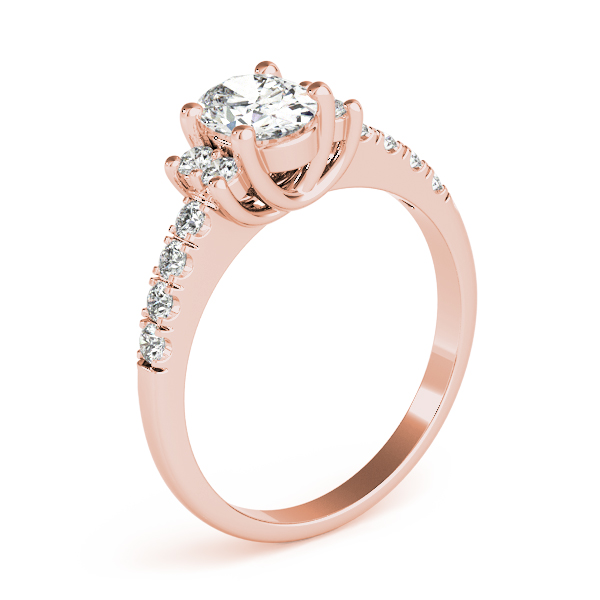 3 Stone Oval Trellis Diamond Ring Rose Gold