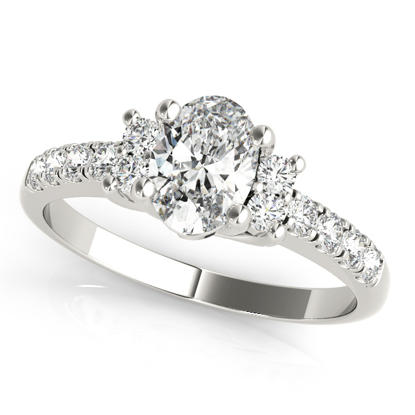 Three Stone Oval Trellis Diamond Ring