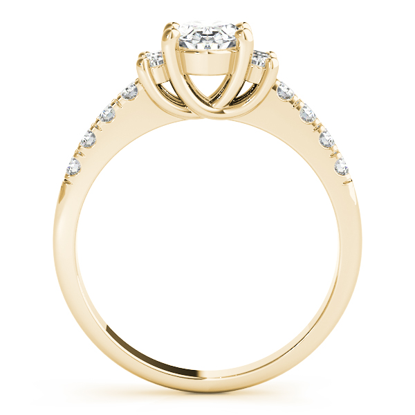 3 Stone Oval Trellis Diamond Ring Yellow Gold