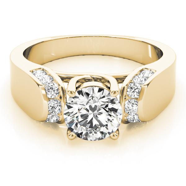 trellis diamond horseshoe engagement ring in yellow gold - Horseshoe Wedding Rings