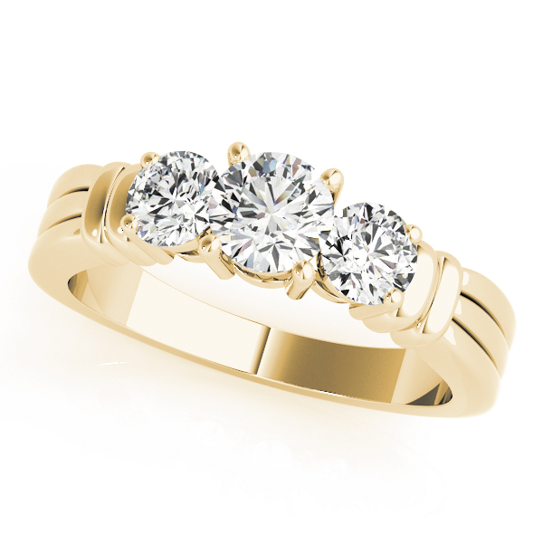 Three Stone Diamond Engagement Ring in Yellow Gold