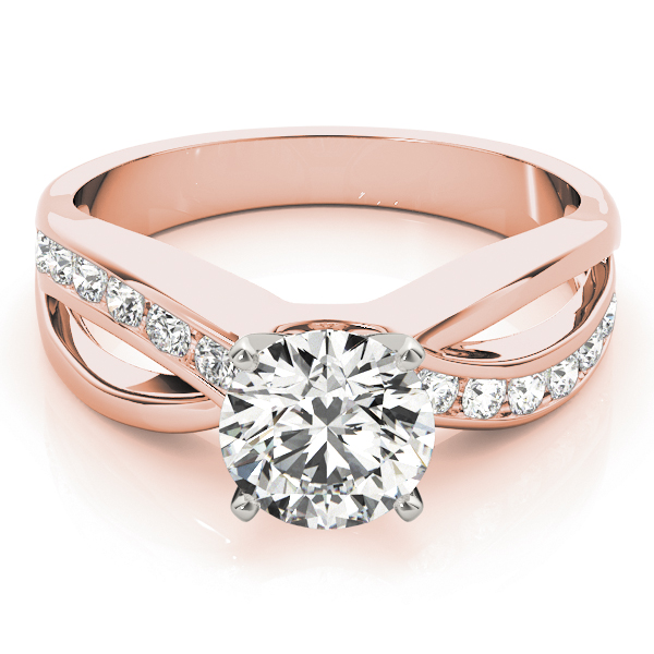 Intertwined Diamond Engagement Ring in Rose Gold