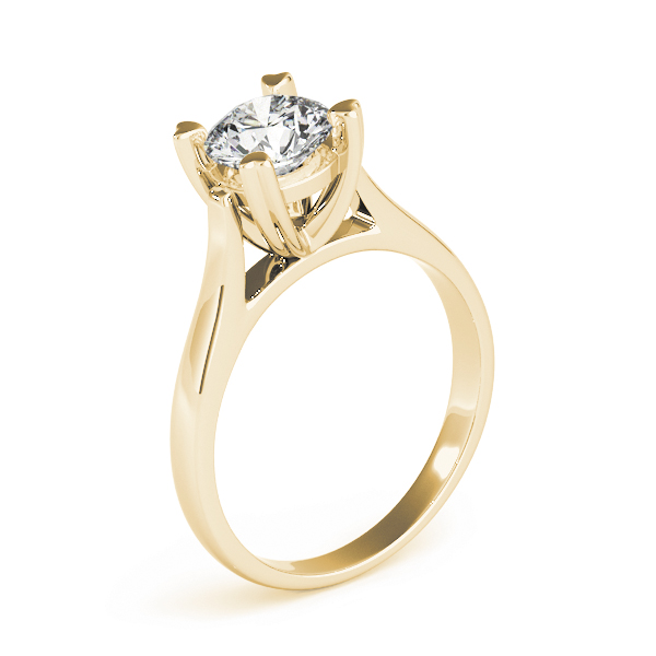 Petite Cathedral Solitaire Engagement Ring in Yellow Gold