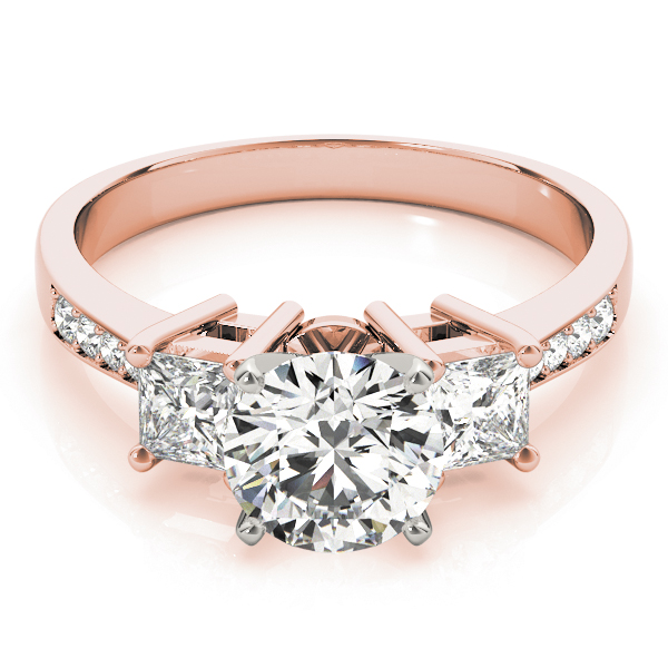 Three Stone Princess Diamond Engagement Ring, Tapered Band in Rose Gold