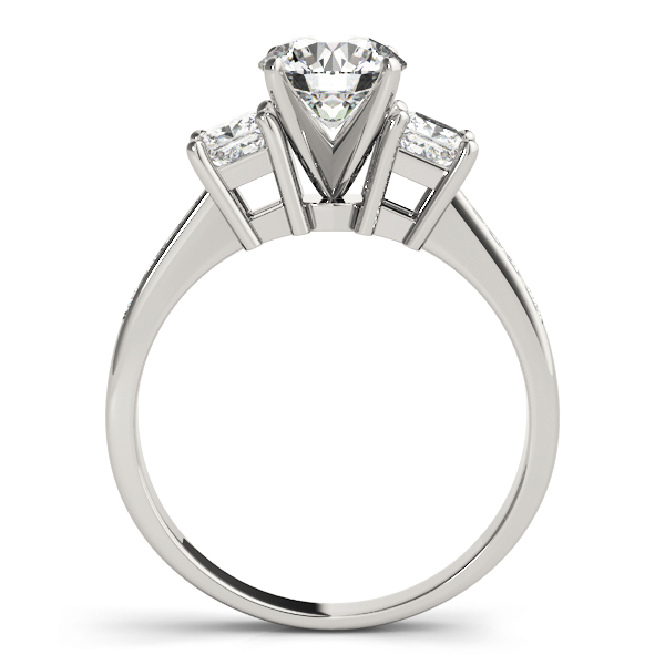 Three Stone Princess Diamond Engagement Ring, Tapered Band