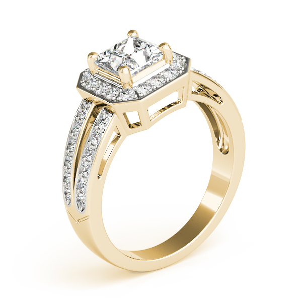 Princess Octagon Halo Split Ring Yellow Gold