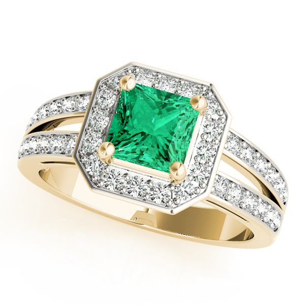 Green Emerald Octagon Halo Ring Yellow Gold
