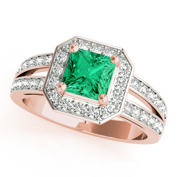 Green Emerald Octagon Halo Ring Rose Gold