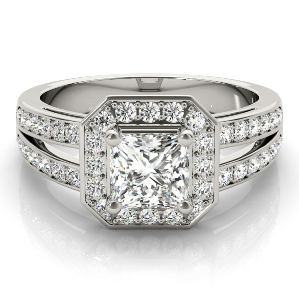 Radiant Octagon Halo Split Band Ring