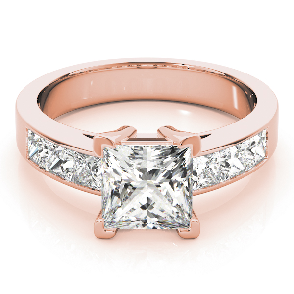 Classic Princess Cut Diamond Engagement Ring in Rose-Gold