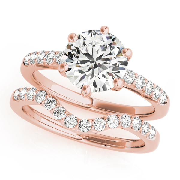 Classic Six Prong Diamond Bridal Set in Rose Gold