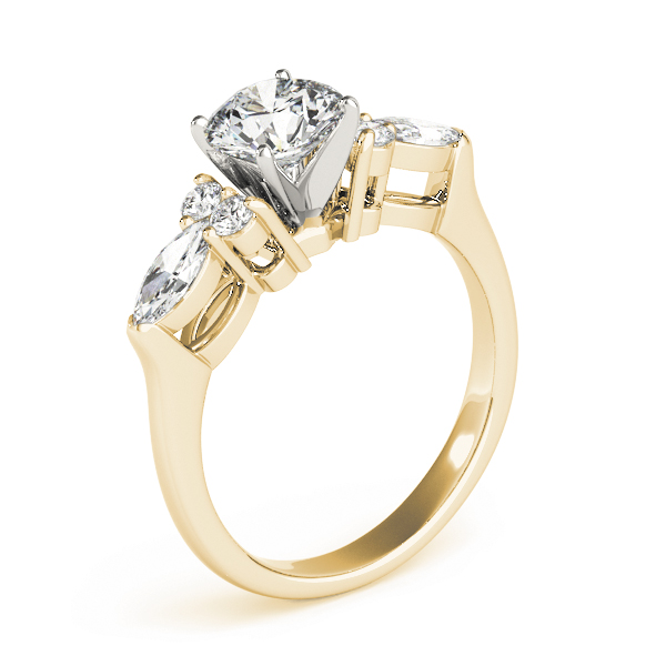 Marquise & Round Diamond Engagement Ring in Yellow Gold