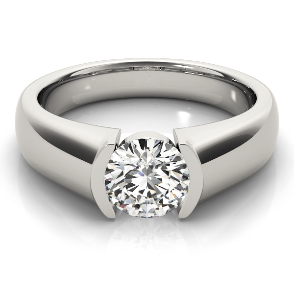 Comfort Fit Semi Bezel Solitaire Engagement Ring