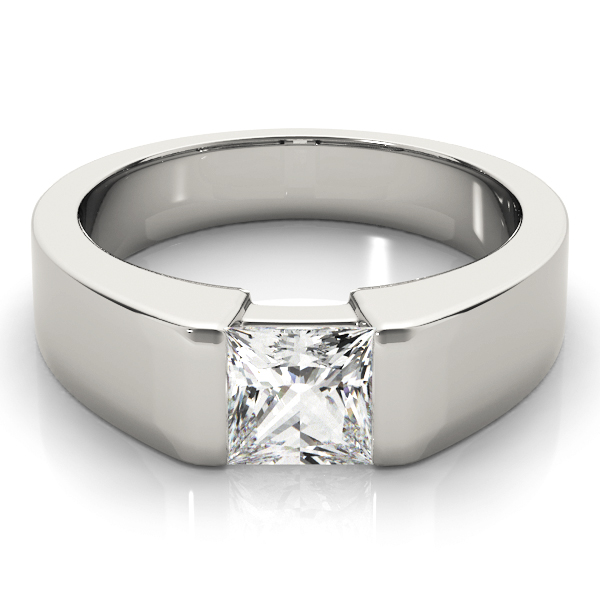 Princess Dome Semi Bezel Solitaire Engagement Ring