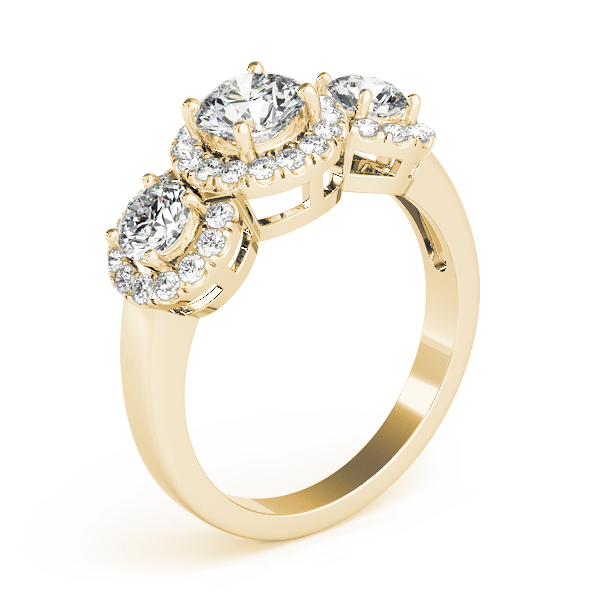 Three Stone Halo Diamond Anniversary Ring in Yellow Gold