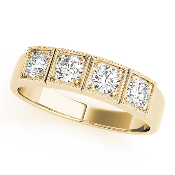 4 Stone Round Diamond Band Yellow Gold