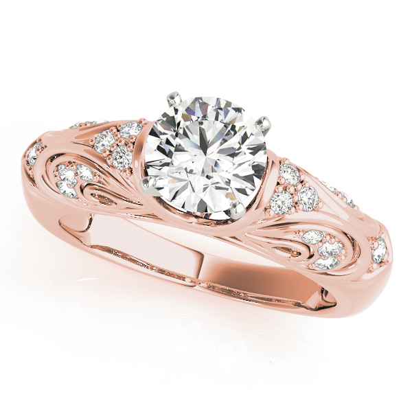 Vintage Filigree Diamond Engagement Ring in Rose Gold