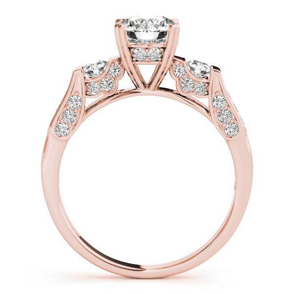 Three Stone Vintage Pave Engagement Ring in Rose Gold
