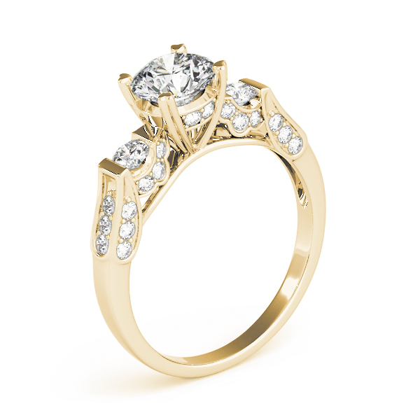 Three Stone Vintage Pave Engagement Ring in Yellow Gold