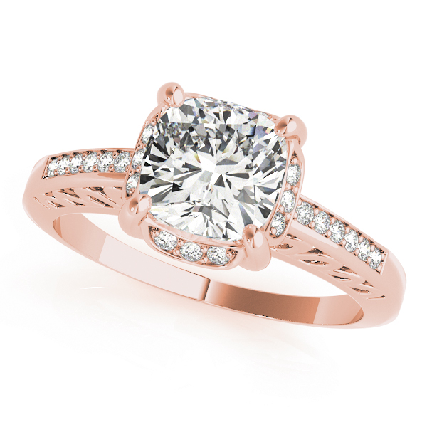 Filigree Cushion Halo Ring Rose Gold