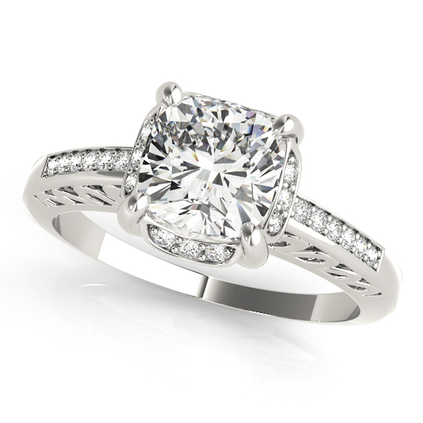 Filigree Cushion Halo Engagement Ring