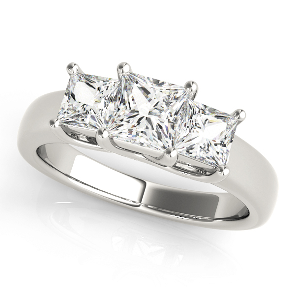 Classic Three Stone Trellis Princess Cut Diamond Ring