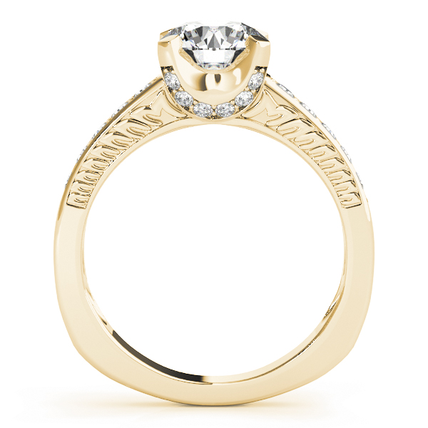 Vintage Diamond Engagement Ring, Engraved Band Yellow Gold