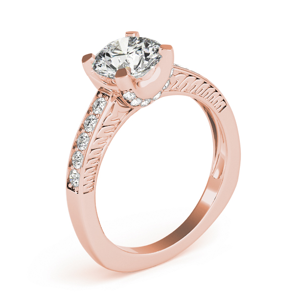 Vintage Diamond Engagement Ring, Engraved Band in Rose Gold