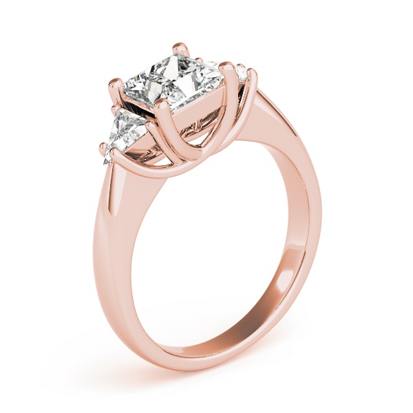 Princess - Trillion Diamond Classic Engagement Ring in Rose Gold
