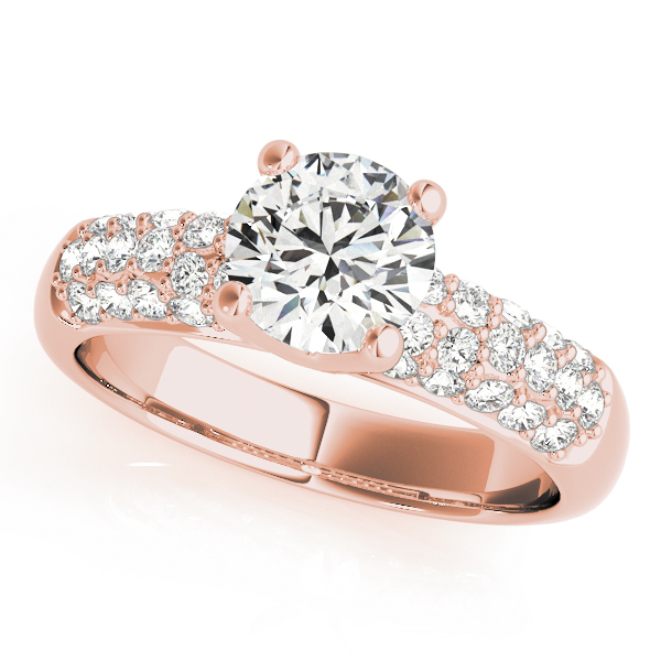 Etoil Pave Diamond Engagement Ring in Rose Gold