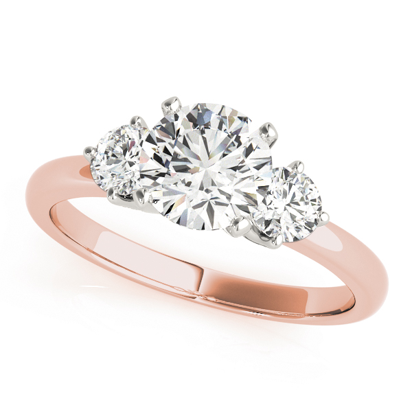 Three Stone Petite Diamond Engagement Ring Rose Gold