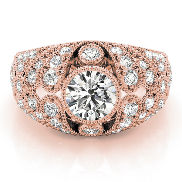 Vertical Three Stone Vintage Diamond Engagement Ring in Rose Gold