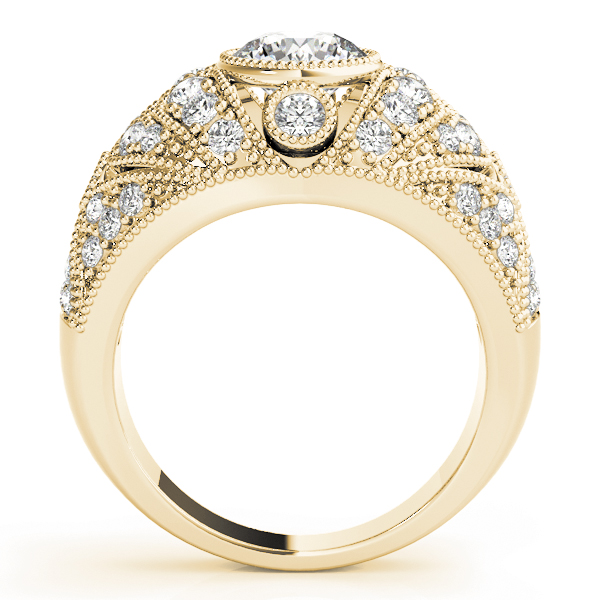 Vertical Three Stone Vintage Diamond Engagement Ring in Yellow Gold