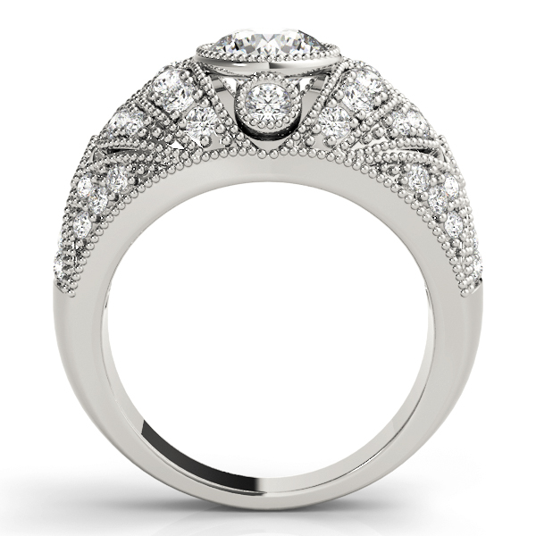 Vertical Three Stone Vintage Diamond Engagement Ring